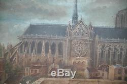 Huile Sur Acajou-cathedrale-paris-notre Dame-epoque Xix-face Nord-rare Vue