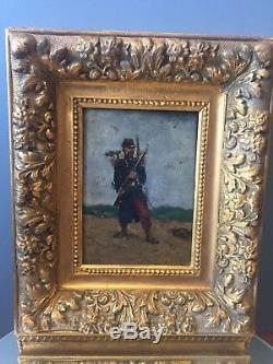 Huile Sur Bois Tableau Ancien Soldat Français Militaria Napoleon 3 1870