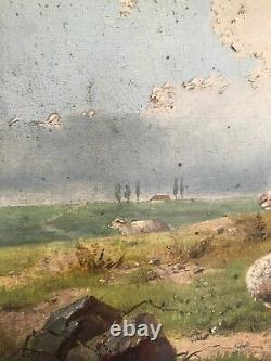 Huile Sur Panneau Bois Ecole Flamande Moutons Poule Auguste Coomans 1855-1896