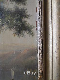 Huile Sur Panneau XIX Eme Par J Deschamps 1856 Theme Paysage Foret (b1128)