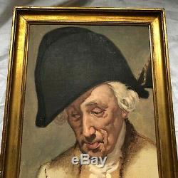 Huile Sur Toile Etude Portrait D Homme Attribue A Manolo Amell Cadre Bois Dore