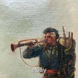 Huile Sur Toile Par Emile Bujon La Trompette 19 Eme Siecle Cadre Bois Dore N° 1