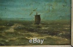 Huile-peinture-marine-paysage-mer-bateau-tempete-cadre-monogramme