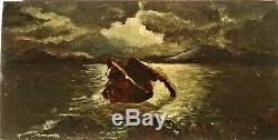 Huile-peinture-paysage-clair De Lune-mer-rochers-cote-xix Eme-clair Obscur