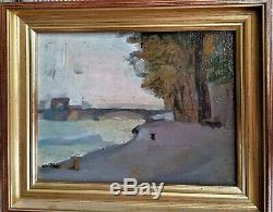 Huile-peinture-paysage-riviere-impresionniste-xix Eme-pont-fleuve