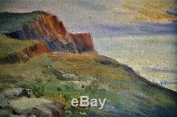 Huile-peinture-tableau-paysage-falaise-mer-impressionniste-fin XIX E- Crepuscule