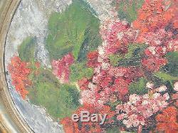 Huile sur Bois Bouquet de Géraniums Bachelet 1927