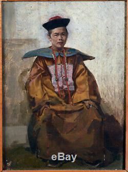 Huile sur Panneau Portrait d'un dignitaire Chinois, XIXe Siècle