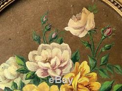Huile sur Papier Bouquet de Fleurs Cadre Ovale Bois Doré Antique Painting Flower