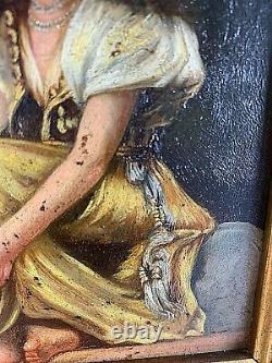 Huile sur bois ORIENTALISTE La jeune femme au tambourin d'époque XIXe