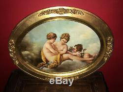Huile sur bois XIXe Scène avec trois angelots Médaillon en bois doré