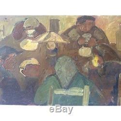 Huile sur bois expressionniste école flamande expressionnisme Belgique anonyme