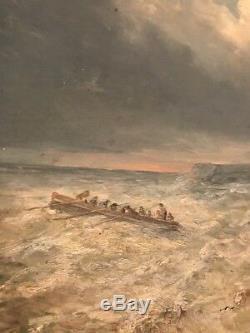 Huile sur bois peinture 19eme Marine Jean Baptiste Henri Durand Brager 45/80