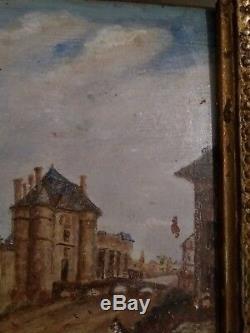 Huile sur bois (tour Nestle) à Paris signé