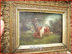 Huile sur bois vache, cheval et mouton au près 18ème
