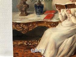 Huile sur panneau 19eme Scene Dinterieur Jeunes Femmes lisant