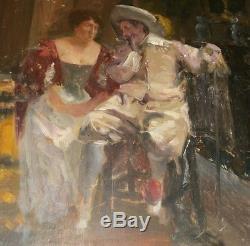 Huile sur panneau Confidence Gentilhomme & Dame dans un salon bourgeois