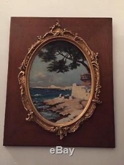 Huile sur panneau Littoral méditerranéen (Italie) Cadre en bois et stuc doré