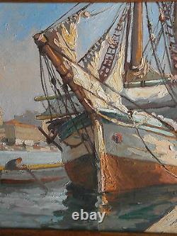 Huile sur panneau Marine port bateau & barque Peinture signée Breval