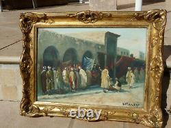 Huile sur panneau Orientale signée Vincent Manago Scène d'un souk au Maghreb