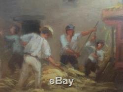 Huile sur panneau Scène PAYSANNE XXè Origine De La Touraine Signé DESCHAMPS 1918