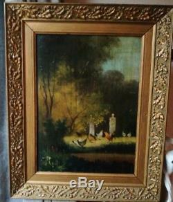 Huile sur panneau ancienne peintre sur bois