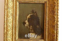 Huile sur panneau bois XIXème Portrait chien Jules Chardigny 1842-1892-ET/EB CH
