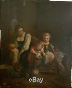 Huile sur panneau de bois XIXè