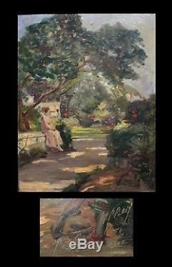 Huile sur panneau de bois, signée Femme assise dans un jardin. 1917