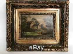 Huile sur panneau encadrée XIXe. Paysage animé