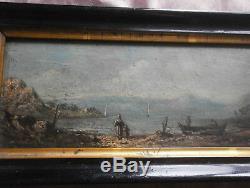 Huile sur panneau miniature Marine XIXème Lac & bateaux Signé Cadre noir
