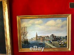 Huile sur panneau signée Années 1900 Port anglais Cadre en bois doré