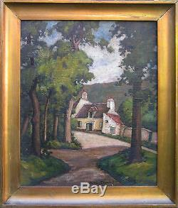 Huile sur toile LAMAISON DU GARDEà l'orée du bois, de Gustave BRACHET