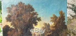 Huile sur toile XIX eme siècle signé BLANCHARD paysage sous bois animé