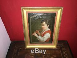 Huile sur toile d'époque XIXe Le joueur de flûte Cadre en bois doré