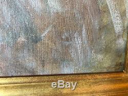 Huile sur toile du XIXe siècle Portrait de petite fille Cadre en bois doré