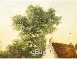 Huile sur toile signé Dorval ferme poules encadrement bois et stuc doré