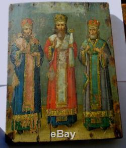 ICONE RUSSE 18è 19è CHRETIENNE HUILE BOIS 3 SAINTS ORTHODOX UKRAINE RUSSIA ICON