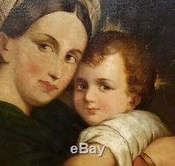 Imposant tableau école du XIXe la vierge à la chaise d'après Raphael HST anonyme