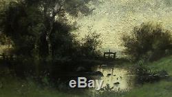 JENIA CATOIS XIXe. GRAND & MAGNIFIQUE BARBIZON 1884. PAYSAGE CRÉPUSCULAIRE