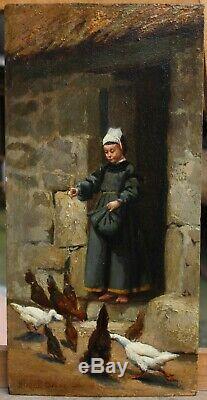 Jacques JOBBÉ-DUVAL (1854-) enfant et poules, Bretagne, mer, finistère