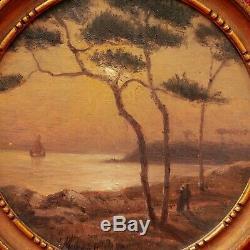 Jacques MARCELIN tableau paysage côte bretonne BRETAGNE mer clair de lune nuit