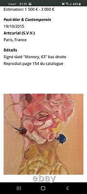 Jacques MONORY Huile Sur Toile Marouflee Sur Bois