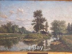 Jan Van Lokhorst, l'Ile, Environs d'Utrecht, Huile Sur Bois Et Cadre Doré XIX èm