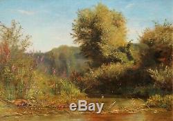 Jean-Charles MERCIER, paysage, tableau, rivière, Barbizon, impressionnisme
