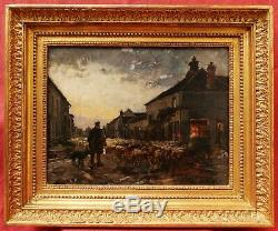 Jean Ferdinand CHAIGNEAU tableau paysage école BARBIZON berger troupeau moutons