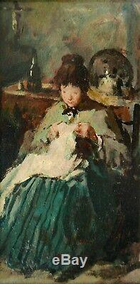 Jean GEOFFROY Géo Berthe MORISOT tableau huile impressionniste portrait femme