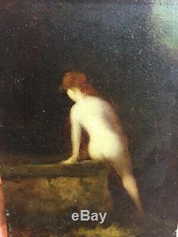 Jean Jacques HENNER (1829-1905) d'après Femme rousse dénudé huile sur bois