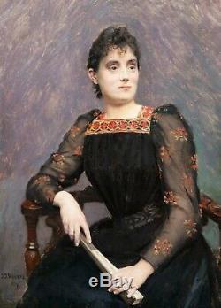 Jean Joseph WEERTS tableau portrait femme peintre ROUBAIX belge Napoléon III