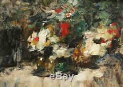 Jean LAUDY peintre belge tableau nature morte fleurs nappe table Art Déco huile